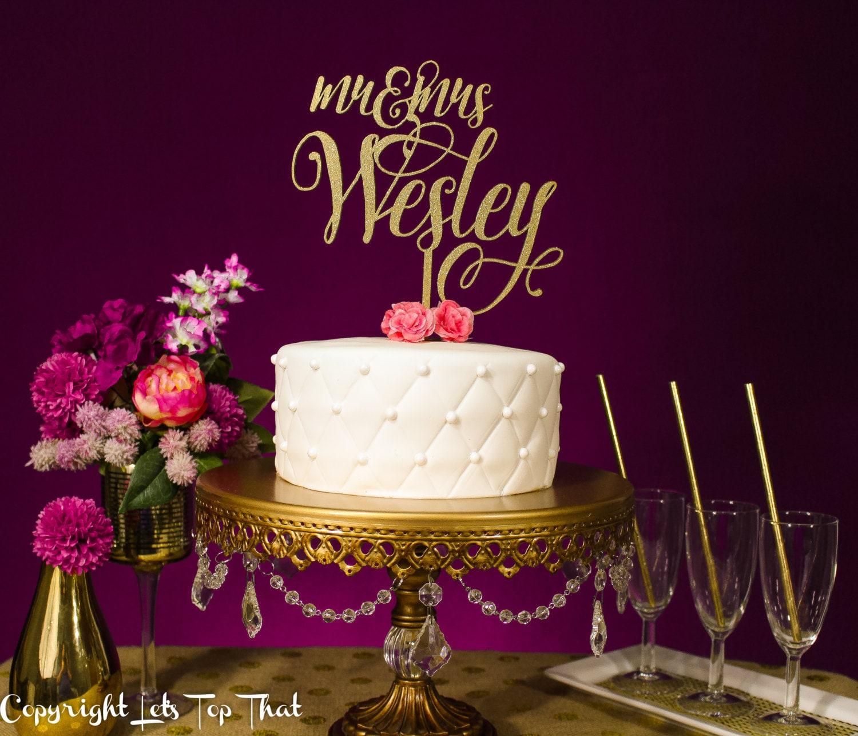 Wedding Cake Topper Custom Last Name SIlver or Gold