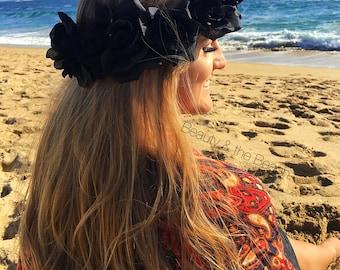 Black rose flower crown headband, Dark plum or black roses