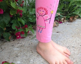 Hand Painted Glow In The Dark FAIRIES on Toddler Girl pink leggings, Baby Girl Hand Painted Leggings, Children Painted Leggings, Kids Pants