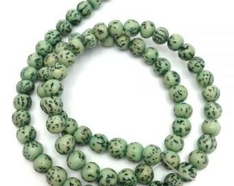 Salwagperlen, turquoise, 6-7 mm, 1 strand, 65, S