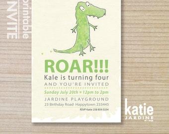 kids invitation - boys invitation - printable invitation - dinosaur - dino ROAR invitation -