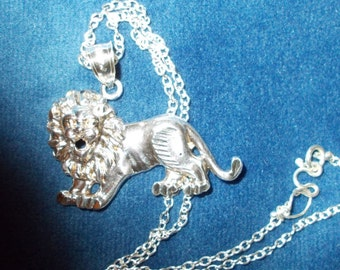 Vintage Solid sterling silver Lion Pendant and Chain