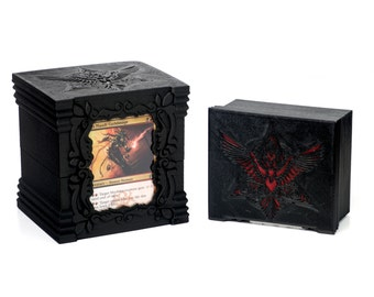 Raven - EDH/COM 100 (120SS) Card Deck Box w/ Front Top Loader Display & 25 Card Extra Slot