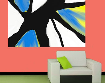 Abstract Painting Big Abstract Art Blue Original Large Modern Painting Fine Art Artwork Giant Painting Yellow Painting Extra large Abstract