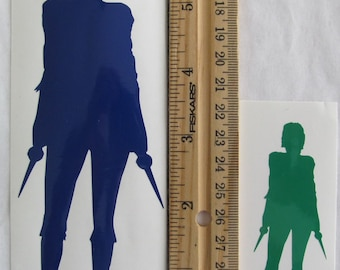 Vinyl Gamer RPG Car Window Decal Sticker Female Rogue with Two Lowered Daggers Silhouette Role Playing Game Gaming D&D Dungeons Dragons