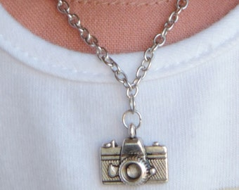 Silver Camera Necklace for American Girl Doll Lea Clark, Z, and other 18 inch dolls
