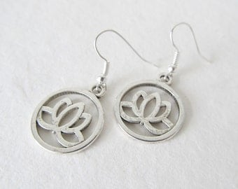 Lotus earrings, lotus jewelry