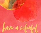 10x Happy New Year card, watercolour red or yellow