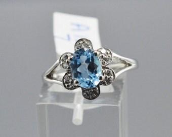 Blue Topaz Sterling Silver Ring, Rhodium Plated, Natural Gemstone, December Birthstone Ring