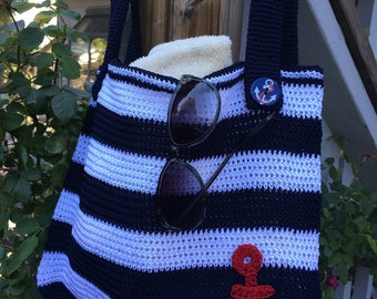 Anchor Blue and White Stripe Bag, Crochet Stripe Bag, Crochet Stripe Purse, Tote Bags, Crochet Bags, Womens Bags, Womens Accessories