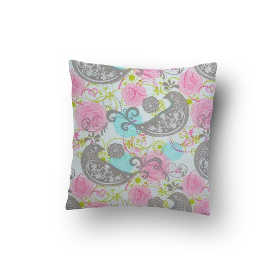 Grey And Pink Decorative Pillows : 16 x 16 Pink and Grey Pillow Cover Throw Pillow