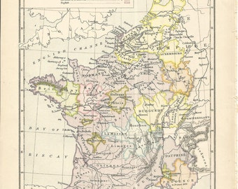 beatiful old 1898 victorian historical map france by c colbeck vintage 1461 1483 wall decor