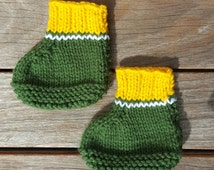 Green Bay Packers booties baby knit baby crib shoes baby shoes Green Bay Beanie NFL Baby socks knitted children socks football baby shoes