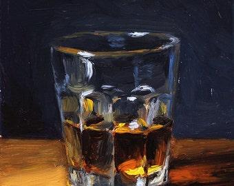 Bourbon Whiskey Still Life Painting, original oil painting by Aleksey Vaynshteyn