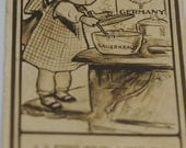Antique Post Card - Anticipation - Girl Cooking German Food (L)
