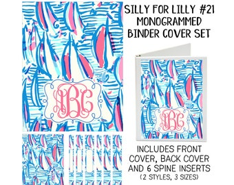 Silly for Lilly #21 Printable Binder Cover Set with Front & Back Covers and Spine inserts - Personalized- Dress up Your Three Ring Binder!