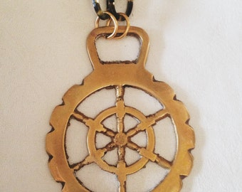 "Hope: Vintage Handmade Brass Ships Wheel Medallion Necklace--24"" Tortoise Look Chain"
