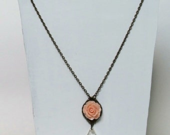 Peach Rose Necklace, Peach Flower Necklace