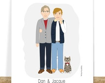 Custom Gay Couples Portrait- Gay Art – Gay Marriage Gift – Gay Gifts - Valentines Day Gifts - Gay Anniversary-  Digital Printable