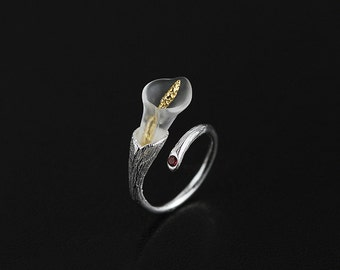 Heart Of Calla Lily Ring Crystal Funner Long Gold Spike Calla Lily Charm Open Ring Adjustable Ring For Women Gift For Her