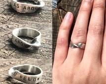 As Above,So Below Möbius strip ring. Sterling silver Möbius strip ring.