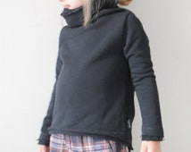 infant sweatshirt, baby sweatshirt, toddler sweater, cotton kids sweater, girl sweatshirt, cotton boy sweatshirt, black sweater Three Snails