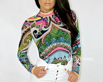 Mesh tribal print long sleeve Bodysuit - Multicolor