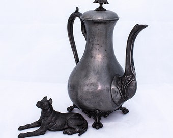 Victorian Clawfoot Pewter Coffee Pot, Gothic Style with Lion's Feet