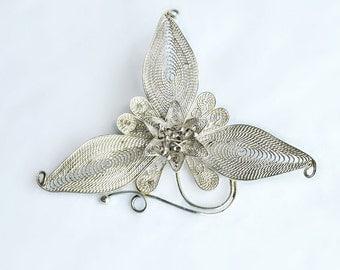 Silver Filigree Flower Brooch - Vintage Filigree Brooch - Victorian Sterling Brooch - Mid-Century Flower Pin - Victorian Flower Brooch