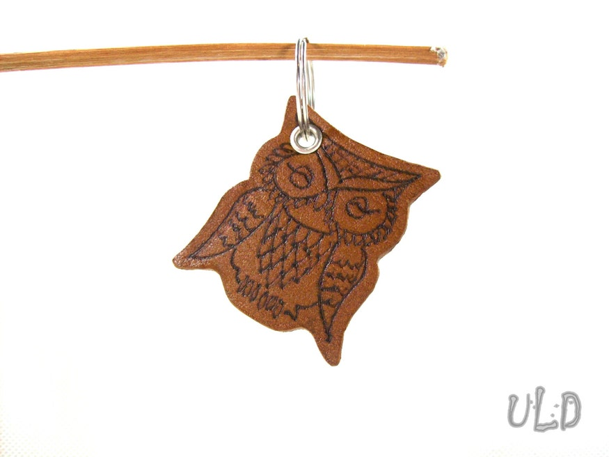 Handmade Leather Owl Keychain
