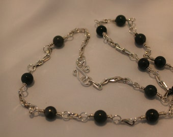 jade beaded necklace,sterling silver links,hand made clasp