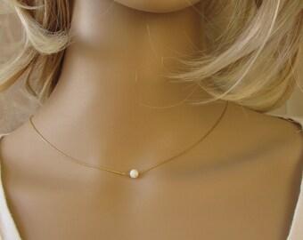 Gold opal necklace, opal ball necklace, opal gold necklace, opal jewelry, tiny dot necklace, opal bead necklace, dot necklace, white opal