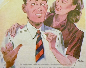 1941 Van Heusen Shirt Ad Matted Life Magazine Print