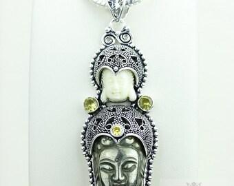 Double Whammy! Kwan Yin Guanyin BUDDHA Goddess Face Moon Face 925 S0LID Sterling Silver Pendant + 4MM Chain & Free Shipping p3785