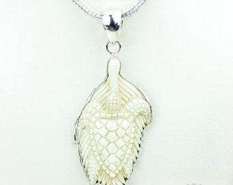 Loggerhead Sea Turtle TOTEM Goddess Face Moon Face Bone Carving 925 S0LID Sterling Silver Pendant + 4MM Chain p3889