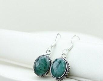 Emerald Vintage Filigree Setting 925 SOLID (Nickel Free) Sterling Silver Dangle Earrings e555