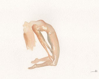 Ustrasana | Camel pose | Yoga | Watercolour Painting | Original |Brown Earth