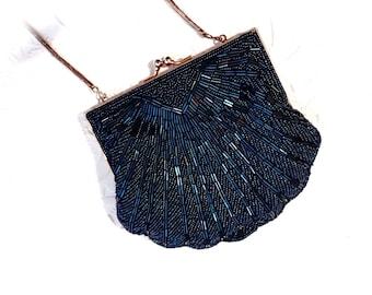 Vintage Beaded Handbag Royal Blue Evening Bag Women's Purses VH-123