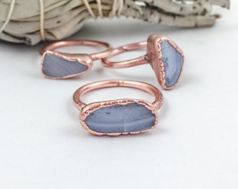 Blue Lace Agate Ring | Stone Ring | Blue stone Ring | Electroformed Ring | Electroformed Jewelry | Blue Lace Agate & Copper Ring |