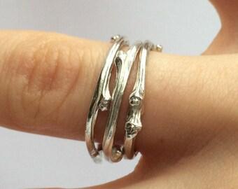 Silver twig ring/solid silver twig/solid silver ring/hallmarked silver twig ring/silver hawthorn twig