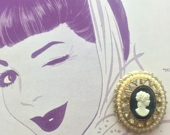 Vintage Signed Coro Cameo Pin with Faux Pearls and Rhinestones