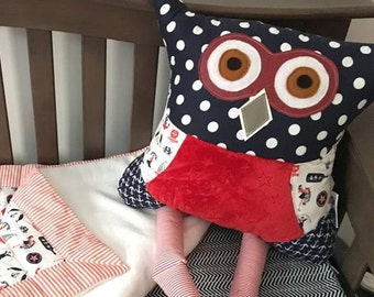 Owl pillow nautical plush blue and red gender stuffed toy animal kid gift room decor