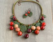 Cherry necklace Red cherries jewelry Boho necklace red Bohemian jewelry Statement fruits Chunky necklace bib Spring fruit jewelry girl