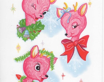 """50's style """"Oh Deer!  It's Christmas"""" Pink Reindeer Holiday Card  OLD STORE STOCK"""