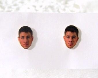 Nick jonas earrings - celebrity earrings - celebrity face earrings - polymer clay earrings - polymer clay studs