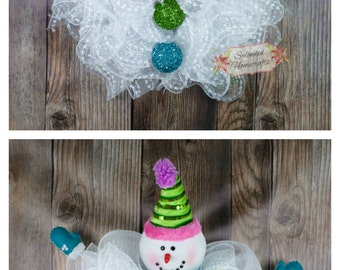 Light up Snowman Wreath, Whimsical Snowman Wreath, Snowman Winter Wreath, Snowball Wreath, Christmas Mesh Wreath, Snowman Decor