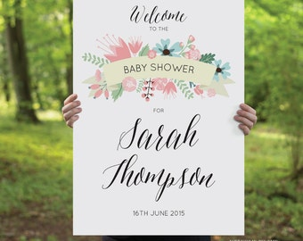 Printable Baby Shower Welcome Sign, DIY Printable Sign - Pastel Garden