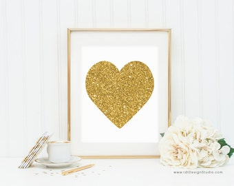Gold Heart Print, Cadre, Nursery Wall Art, Kids Room Decor, Baby Shower Gift, Birthday Gift, Valentine's Day Gift, Anniversary Gift