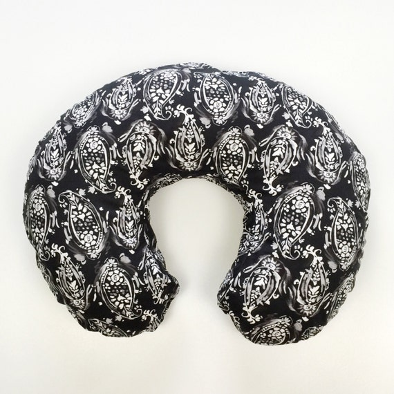 Boppy Cover >> Shadowbox Watercolor Paisley in Slate >> READY-to-SHIP nursing pillow, black and white floral boppy, paisley boppy, modern