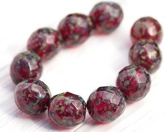Dark Ruby Red Premium Picasso Czech Glass Round Beads, 10 mm, 10 Pc, PB7